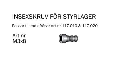 Insexskruv M3x8mm till 117-010 & 117-020