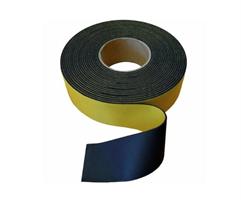 Gummistrips 80x5 mm Sort m/lim - 10 meter