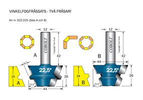 Vinkelfogfräs-sats 22.5° L=24 S=12