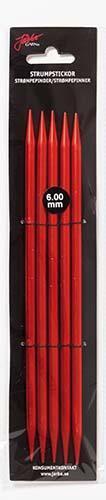 Järbo Garn strumpsticka 20 cm/6,0 mm röd
