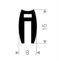 U-profil 4/8x15 mm sort EPDM - Løpemeter