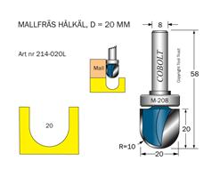 Mallfräs hålkäl R=10 D=20 L=20 TL=58 S=8