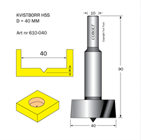 Kvistborr HSS D=40 TL=90 S=10