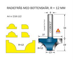 Radiefräs R=12 L=19 S=8