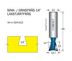 Sinkfräs 14° D=12.7 L=13 TL=55 S=12