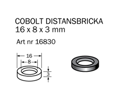Distansring 16x8x3,0 mm