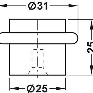 Dørstopper 25 mm rustfri for gulvmontering