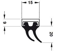 Lukeprofil 15x26x2400 mm sort m/alu profil