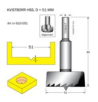 Kvistborr HSS D=51 TL=90 S=9