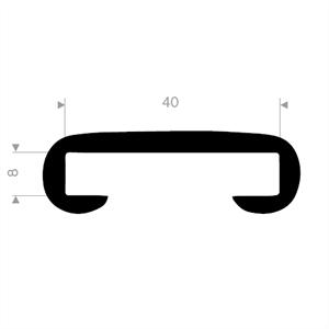 Håndløperprofil 40x8 mm Sort – Løpemeter