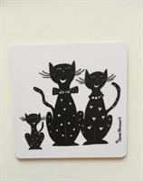 Glasunderlägg, Familjen katt i svart-vitt