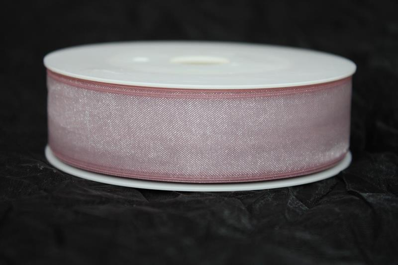Band 25 mm 50 m/r organza pale berry