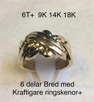 PUZZELRING 6 Delad BRED+ Kraftigare ringskenor 9K GULD