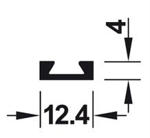 Baseprofil for børstelist alu krom - 2400 mm