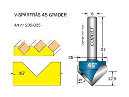 V-spårfräs 45° L=12.5 D=25 S=8