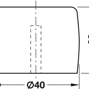 Dørstopper 40 mm for gulv- og veggmontering