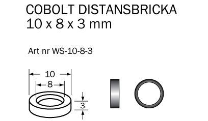 Distansbricka 10 x 8 x 3 mm