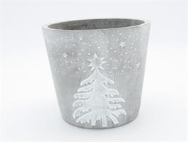Kruka cement med granmotiv 15,5 cm 4/fp