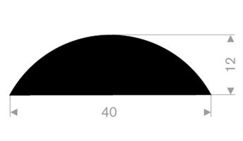 D-profil 40x12 mm sort TPE - Løpemeter