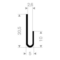 U-profil 2,6/5x20,5 mm sort EPDM - Løpemeter