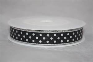 Band 15 mm 25 m/r svart med silverprickar
