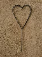Metallhjärta m ögla och pinne 12x27cm