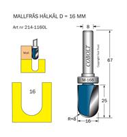 Mallfräs Hålkäl R=8 D=16 L=25 TL=67 S=8
