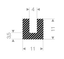 U-profil 4/11x11 mm sort EPDM svamp - Løpemeter