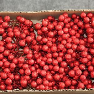 Bär glitter D1,2cm röd 72x6st