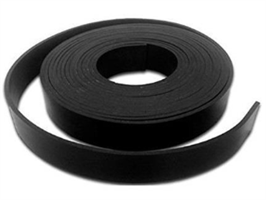Gummistrips 80x3 mm Sort u/lim SBR/NR- Løpemeter