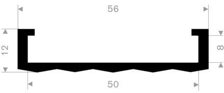U-profil 50/56x12 mm sort EPDM - Løpemeter