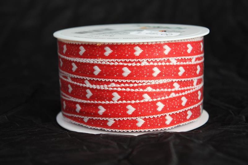 Band 12 mm 25 m/r röd/vit hjärta