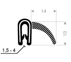 Kantprofil ST 36.120 sort (1,5-3 mm) - Løpemeter