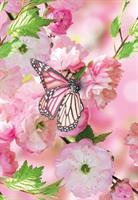 Kort Vikbara Pink flowers & butterfly 25/fp