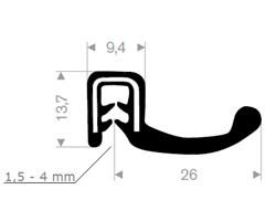 Kantprofil ST 36.315 sort (1,5-4 mm) - Løpemeter
