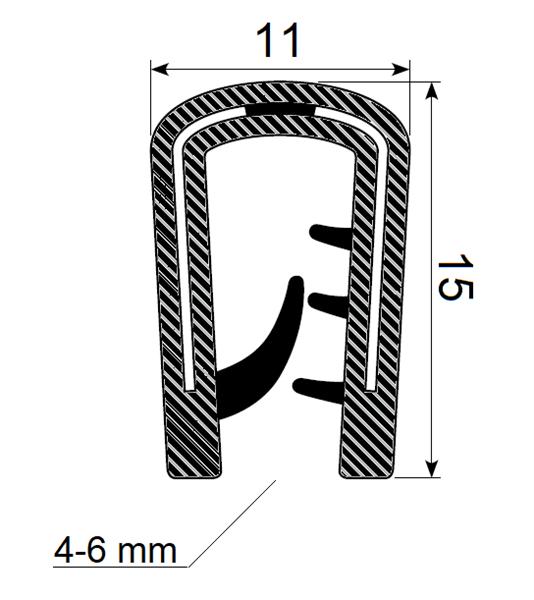 Kantprofil 11x15 mm sort (4-6 mm) - Løpemeter