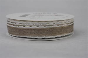 Band 20 mm 15 m/r linne vit kant med tråd