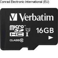 Minne Micro SDHC 16GB Verbatim Class 10
