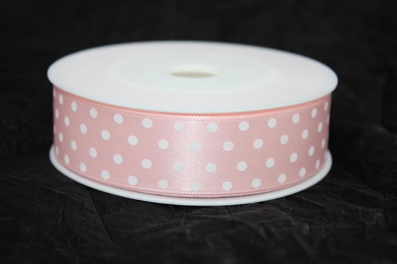 Band 25 mm 20 m/r rosa med vita prickar