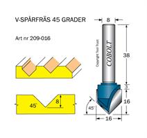 V-spårfräs 45° D=16 L=8 S=8