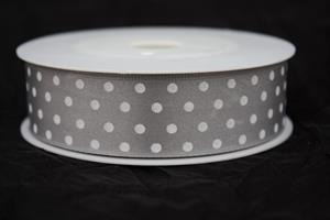 Band 25 mm 20 m/r grå med vita prickar