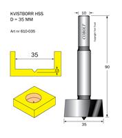 Kvistborr HSS D=35 TL=90 S=10