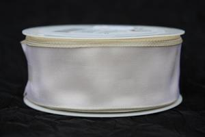 Band 40 mm 25 m/r taft creme med tråd