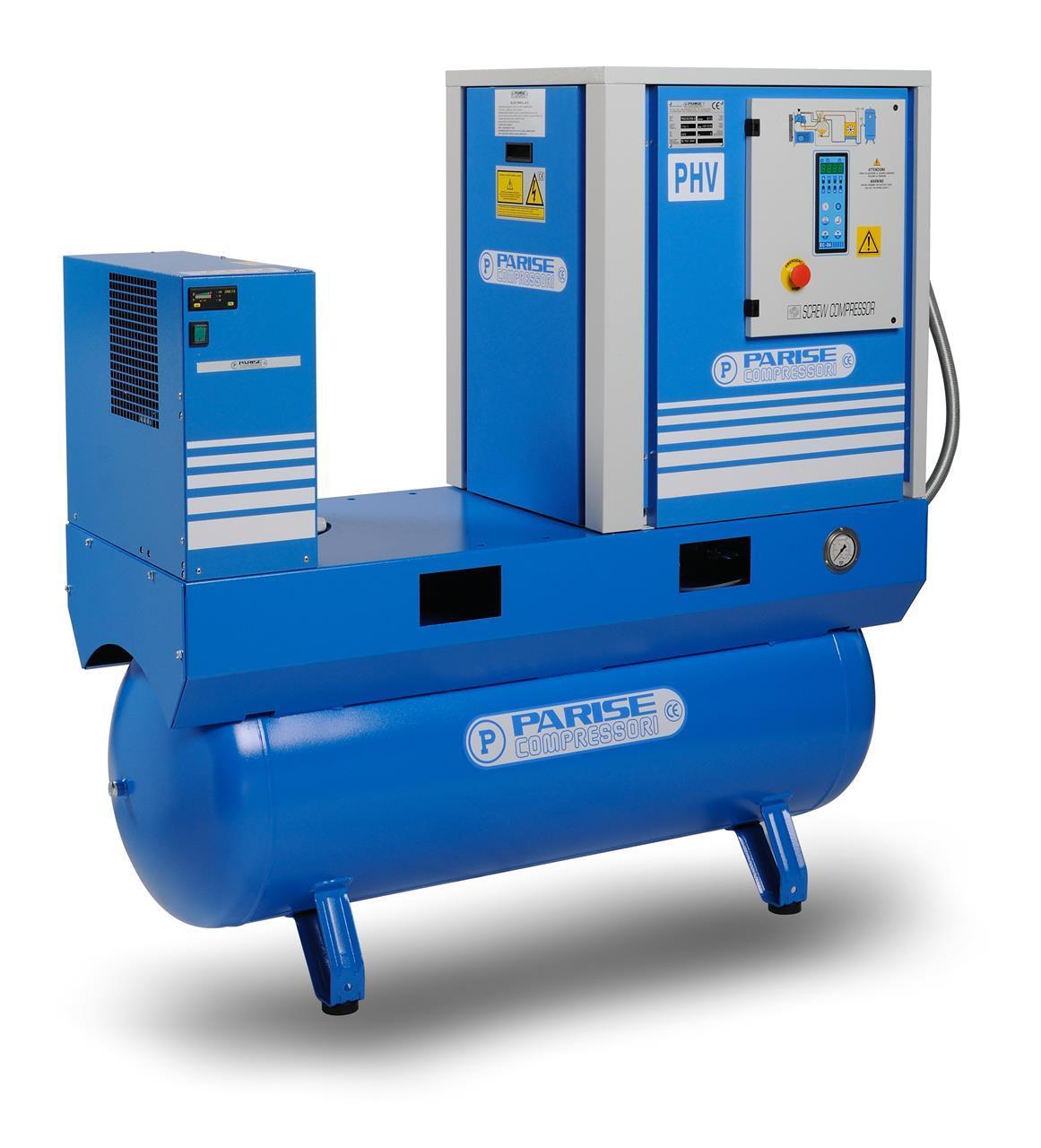 PARISE Ruuvikompressori 7.5kW, 950L/min, 8bar PHV10S270E/EC06-08 säiliöllä ja kuivaimella