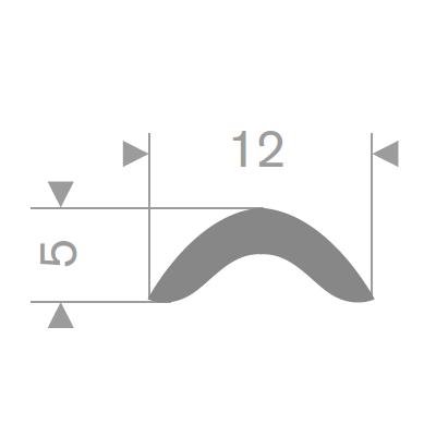Låselist 12x5 mm grå PVC - Løpemeter