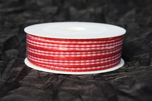 Band 6 mm 25 m/r röd/vit rutigt