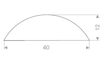 D-profil 40x12 mm hvit TPE - Løpemeter