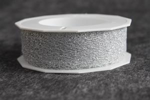 Band 25 mm 20 m/r spets silvermetallic