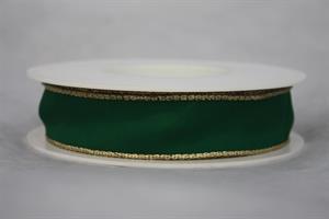Band 25 mm 25 m/r grön/guldkant med tråd
