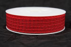 Band 25 mm röd lurex 25m/r